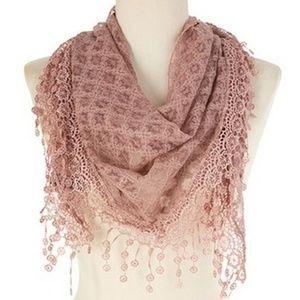 New Fashion Triangle Lace Scarf Mauve Color